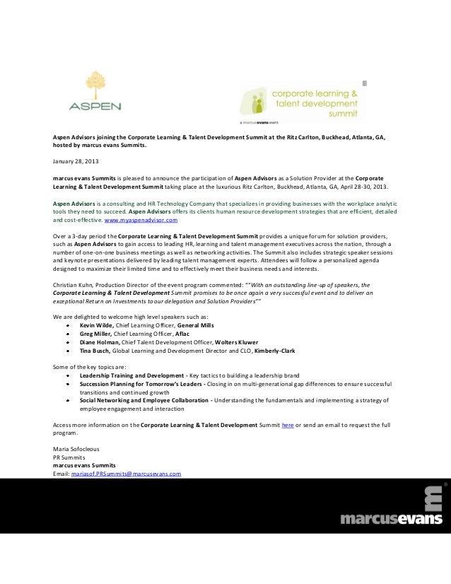 Corporate Learning & Talent Development Summit 2013 - Aspen Advisors