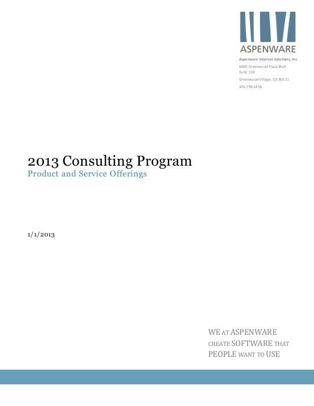 Aspenware 2013 consulting program