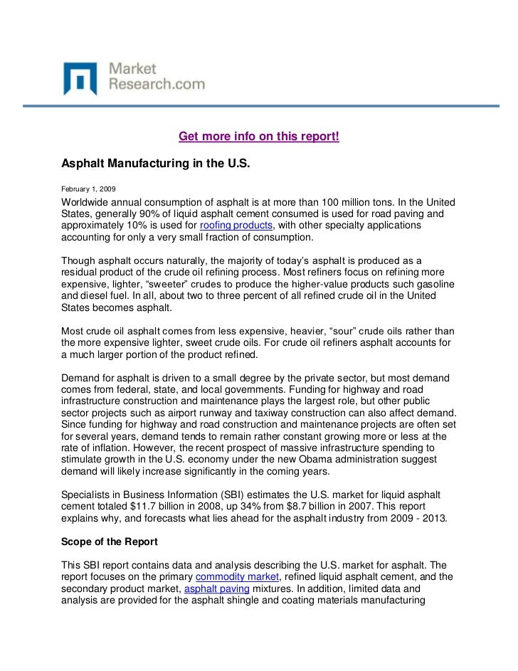 Asphalt manufacturing in the u.s.