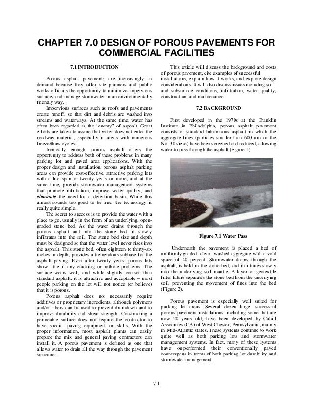 CHAPTER 7.0 DESIGN OF POROUS PAVEMENTS FOR           COMMERCIAL FACILITIES                7.1 INTRODUCTION                ...