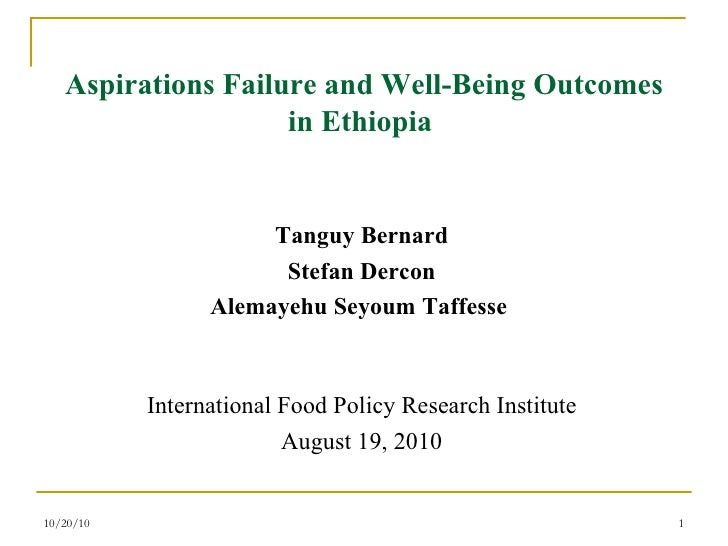 Aspirations Failure and Well-Being Outcomes in Ethiopia