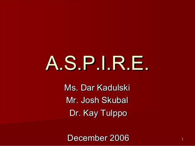 11 A.S.P.I.R.E.A.S.P.I.R.E. Ms. Dar KadulskiMs. Dar Kadulski Mr. Josh SkubalMr. Josh Skubal Dr. Kay TulppoDr. Kay Tulppo D...