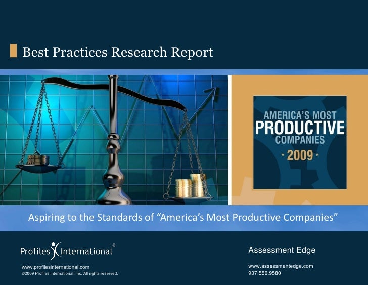 Aspiring to the Standards of America's Most Productive Companies