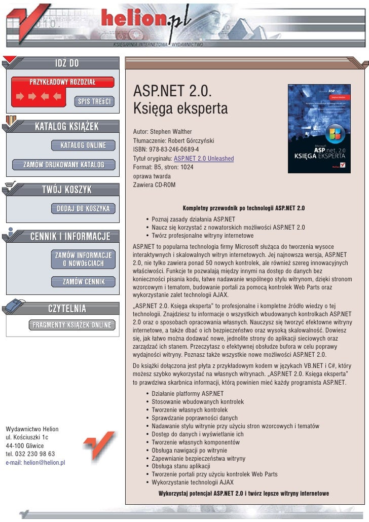 ASP.NET 2.0.                            Ksiêga eksperta                            Autor: Stephen Walther                 ...