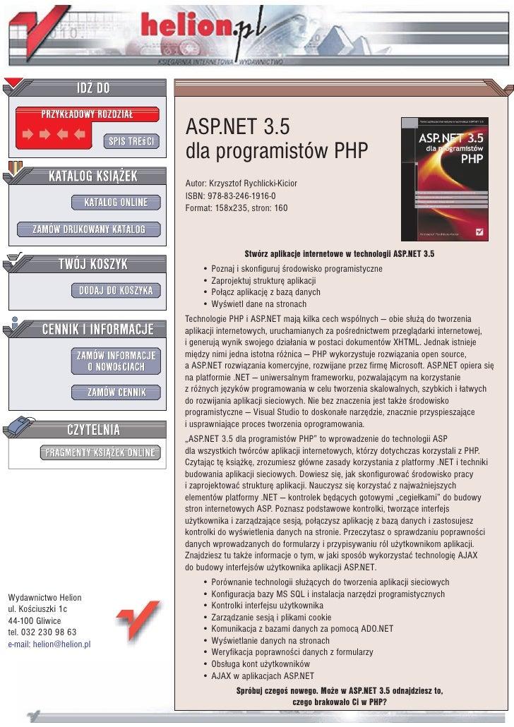 ASP.NET 3.5                           dla programistów PHP                           Autor: Krzysztof Rychlicki-Kicior    ...