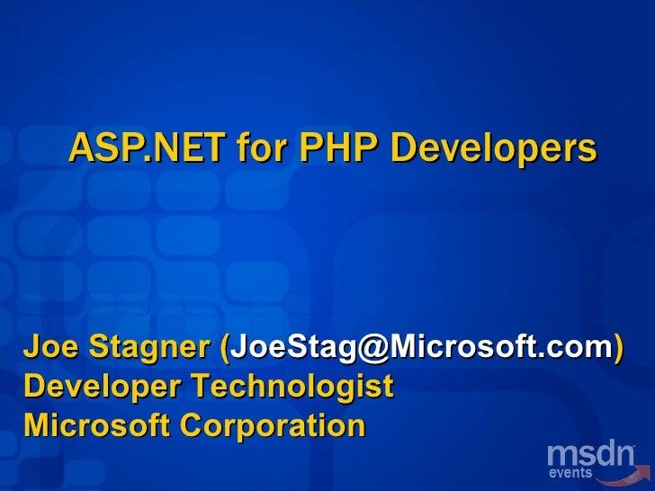 ASPNET for PHP Developers