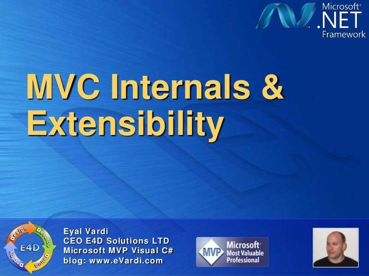 MVC Internals &Extensibility  Eyal Vardi  CEO E4D Solutions LTD  Microsoft MVP Visual C#  blog: www.eVardi.com