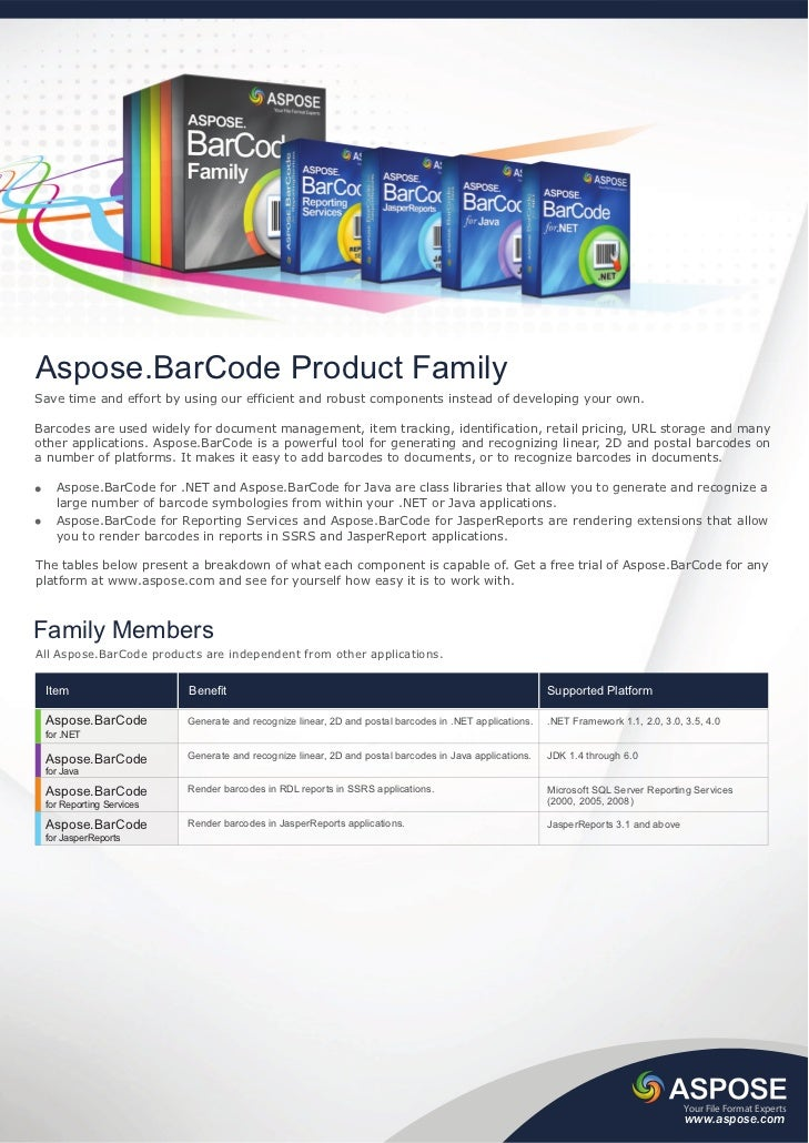 Aspose.BarCode Product FamilySave time and effort by using our efficient and robust components instead of developing your ...