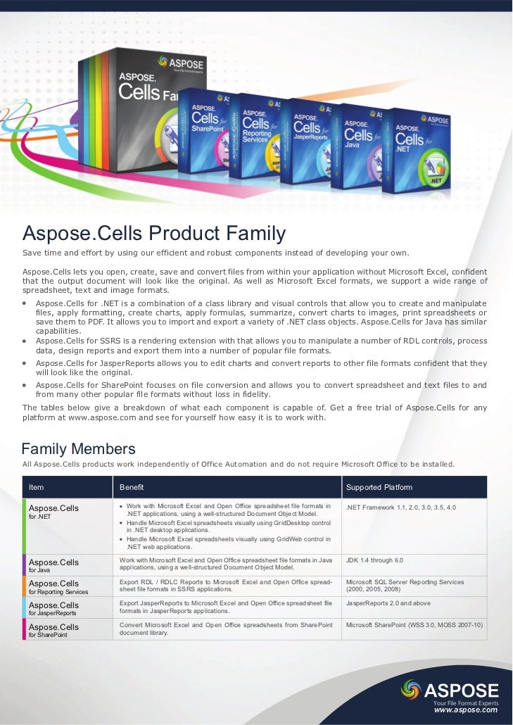 Aspose.Cells Product FamilySave time and effort by using our efficient and robust components instead of developing your ow...