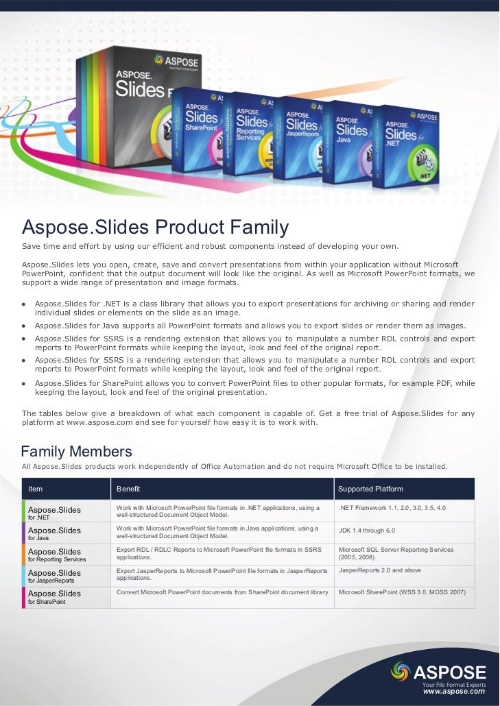 Aspose.Slides Product FamilySave time and effort by using our efficient and robust components instead of developing your o...