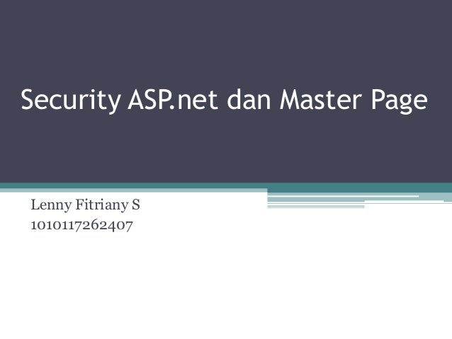 Security ASP.net dan Master PageLenny Fitriany S1010117262407