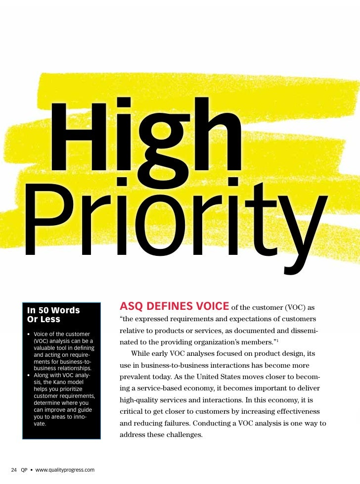 High   Priority      In 50 Words                   ASQ DEFINES voIcE of the customer (VOC) as      Or Less                ...