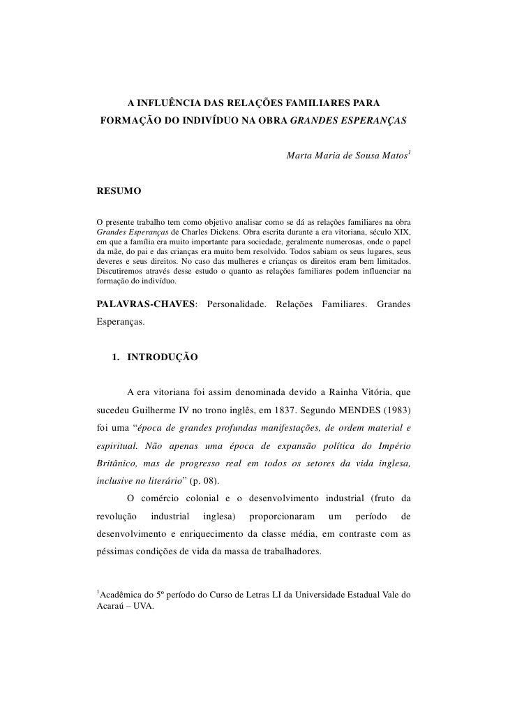A INFLUÊNCIA DAS RELAÇÕES FAMILIARES PARA     FORMAÇÃO DO INDIVÍDUO NA OBRA GRANDES ESPERANÇAS                            ...