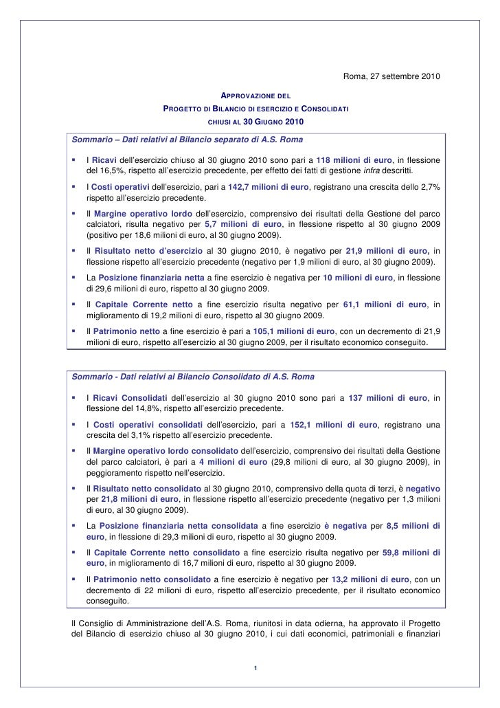 As roma financial report 2009 10
