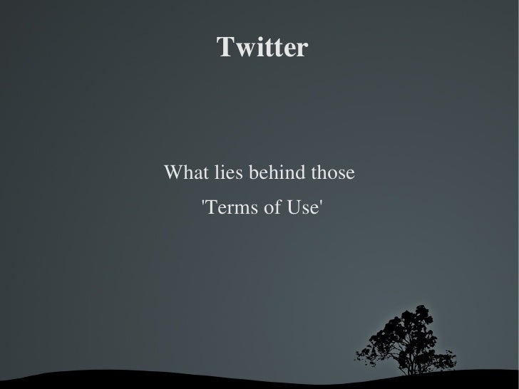 Twitter <ul>What lies behind those  'Terms of Use' </ul>