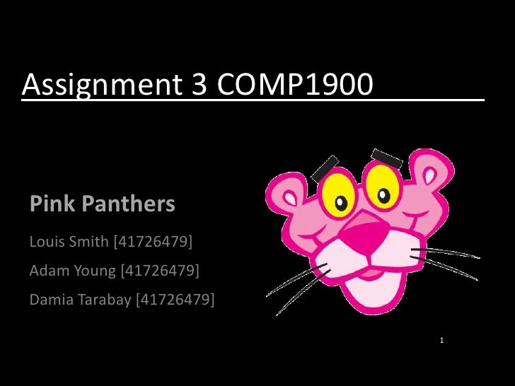 Assignment 3 COMP1900			        <br />Pink Panthers<br />Louis Smith [41726479]<br />Adam Young [41726479]<br />DamiaTarab...