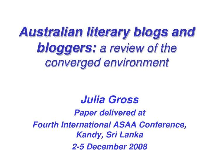 Australian literary blogs and bloggers
