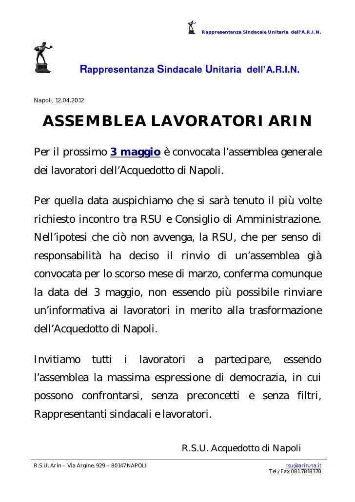 Rappresentanza Sindacale Unitaria dell'A.R.I.N.                 Rappresentanza Sindacale Unitaria dell'A.R.I.N.Napoli, 12....