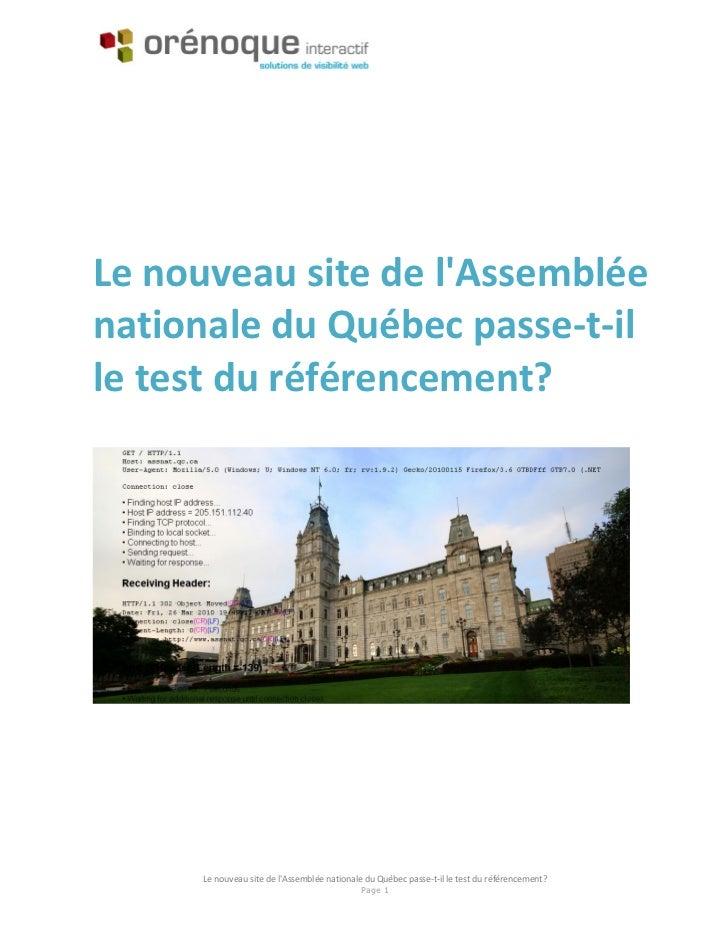 Le nouveau site de lAssembléenationale du Québec passe-t-ille test du référencement?     Le nouveau site de lAssemblée nat...