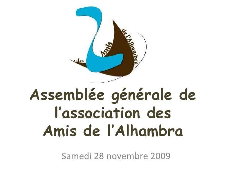 Assemblée générale de l'association desAmis de l'Alhambra<br />Samedi 28 novembre 2009<br />