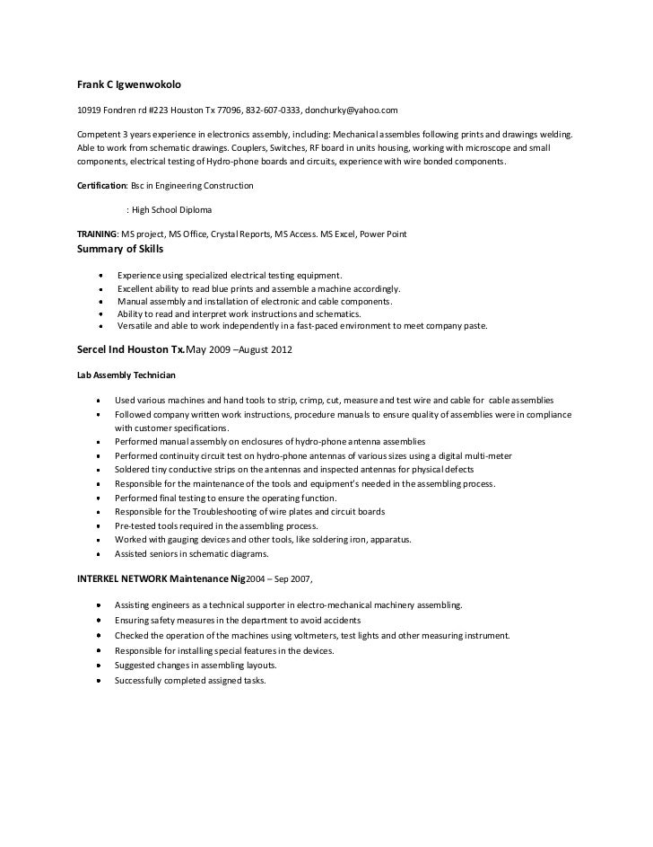 picture device assembler resume sle picture