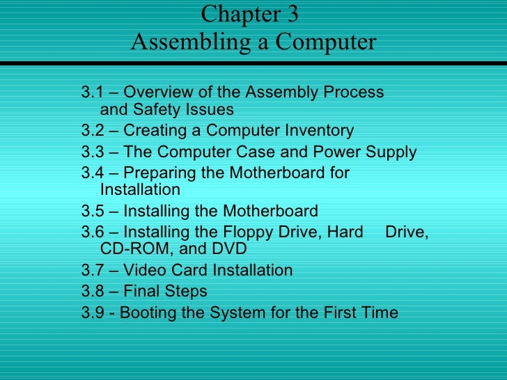 Chapter 3  Assembling a Computer <ul><li>3.1 – Overview of the Assembly Process  and Safety Issues </li></ul><ul><li>3.2 –...