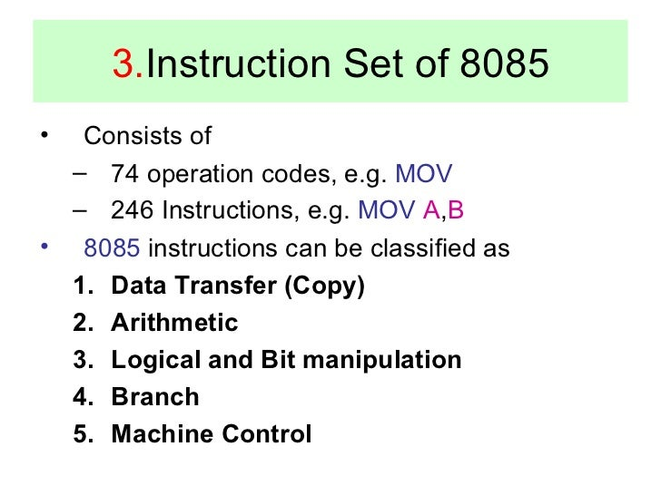 instruction set in 8085 microprocessor pdf