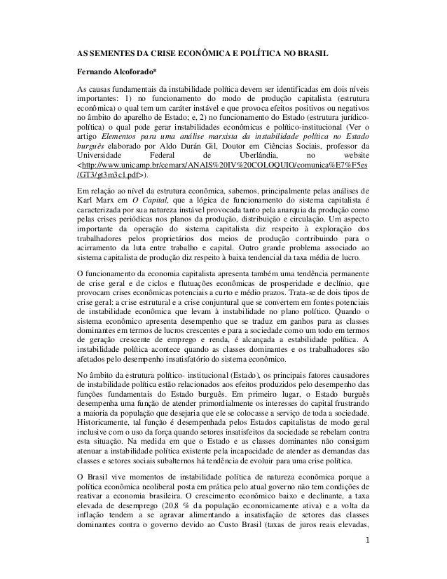 As sementes da crise econômica e política no brasil