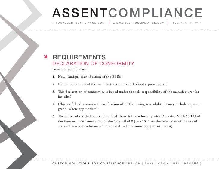 reach certificate of compliance template - rohs technical file creation webinar slides
