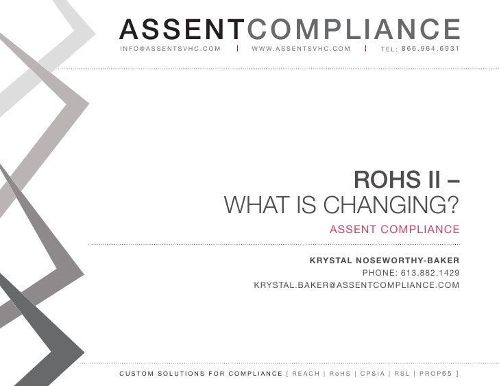 Assent compliance Webinar RoHS II