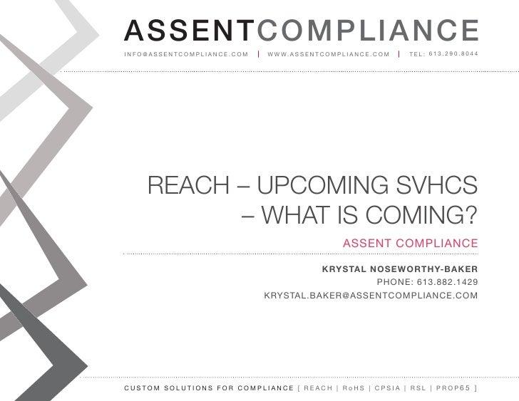 REACH SVHC's 2012 - Assent Compliance