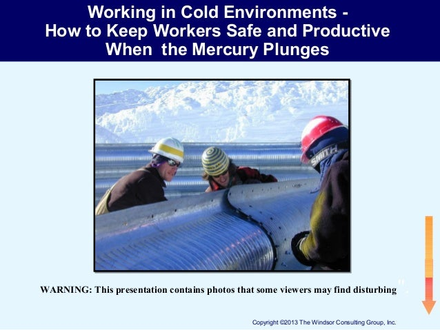 Working in Cold Environments How to Keep Workers Safe and Productive When the Mercury Plunges  WARNING: This presentation ...