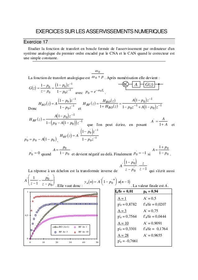 EXERCICESSURLESASSERVISSEMENTSNUMERIQUES Exercice 17 Etudier la fonction de transfert en boucle fermée de l'asservissement...