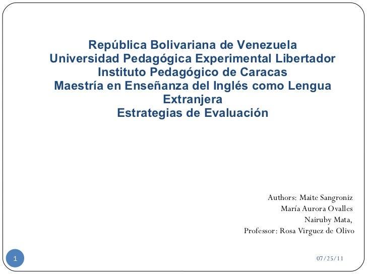 República Bolivariana de Venezuela Universidad Pedagógica Experimental Libertador Instituto Pedagógico de Caracas Maestría...