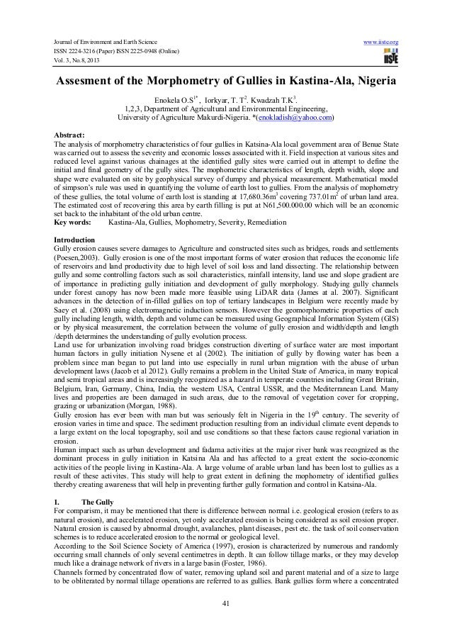 Assesment of the morphometry of gullies in kastina ala, nigeria