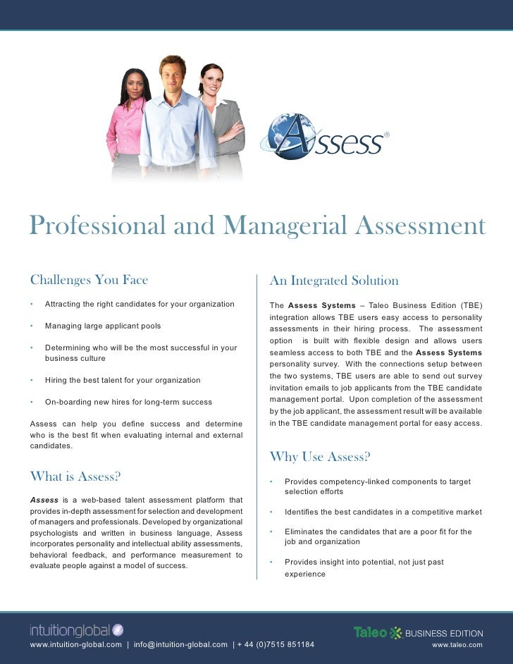 Professional and Managerial Assessment Challenges You Face                                              An Integrated Solu...