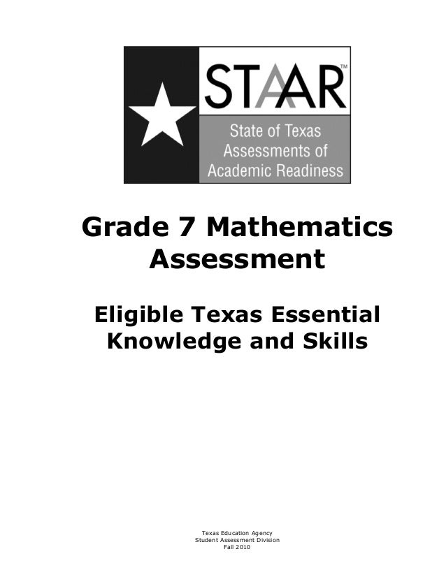 Grade 7 Mathematics     AssessmentEligible Texas Essential Knowledge and Skills           Texas Education Agency        St...