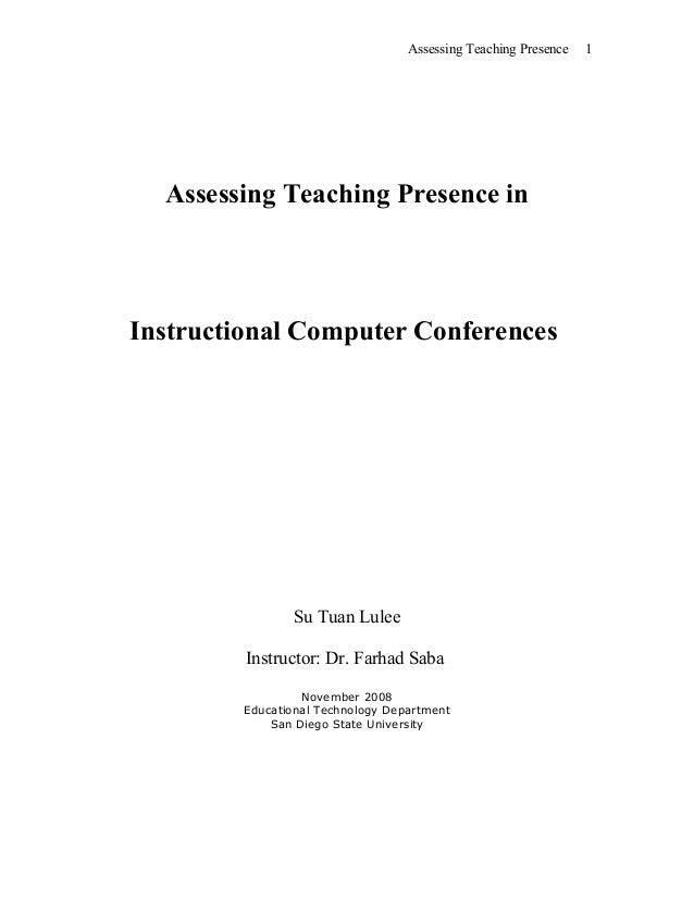 Assessing Teaching Presence In Instructional Cmc Susan Lulee