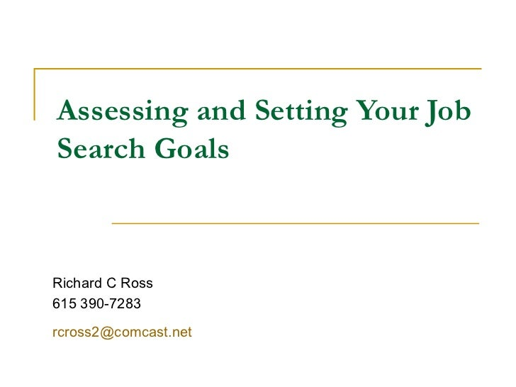 Assessing and Setting Your Job Search Goals Richard C Ross 615 390-7283 [email_address]