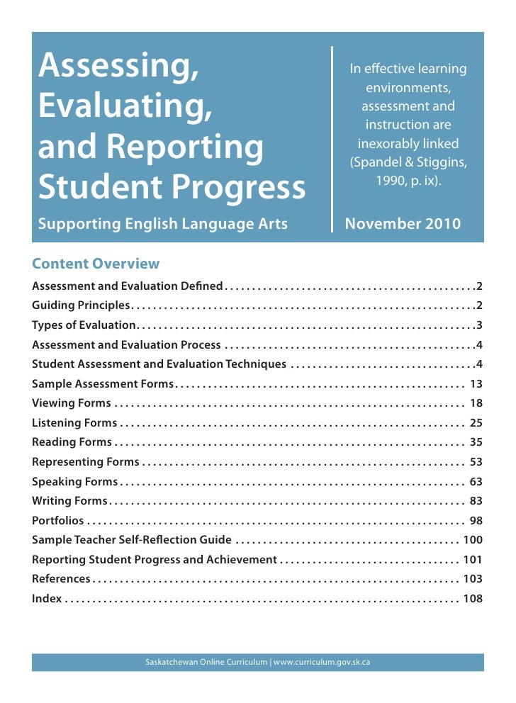Assessing, evaluating and reporting student progress  nov 2110