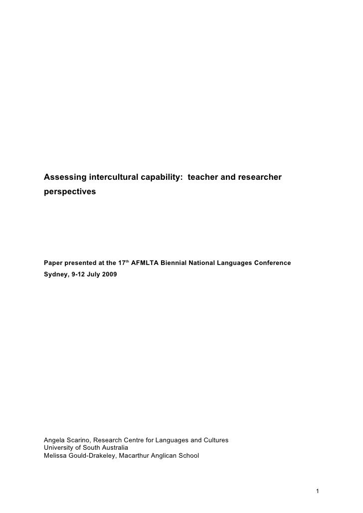 Assessing intercultural capability: teacher and researcher perspectives     Paper presented at the 17th AFMLTA Biennial Na...