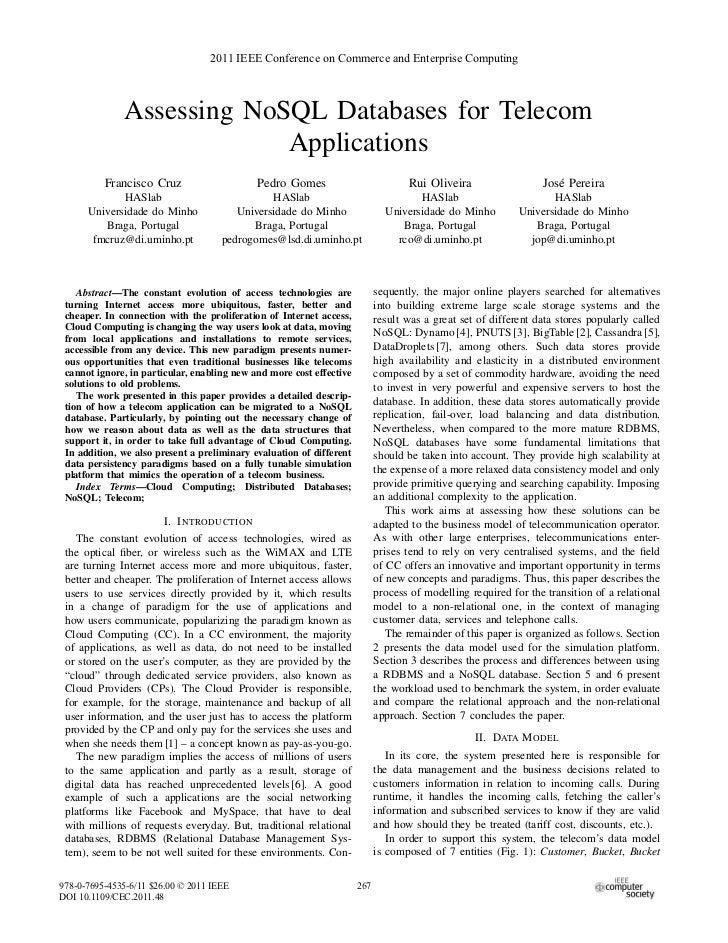 Assessing no sql databases for telecom applications