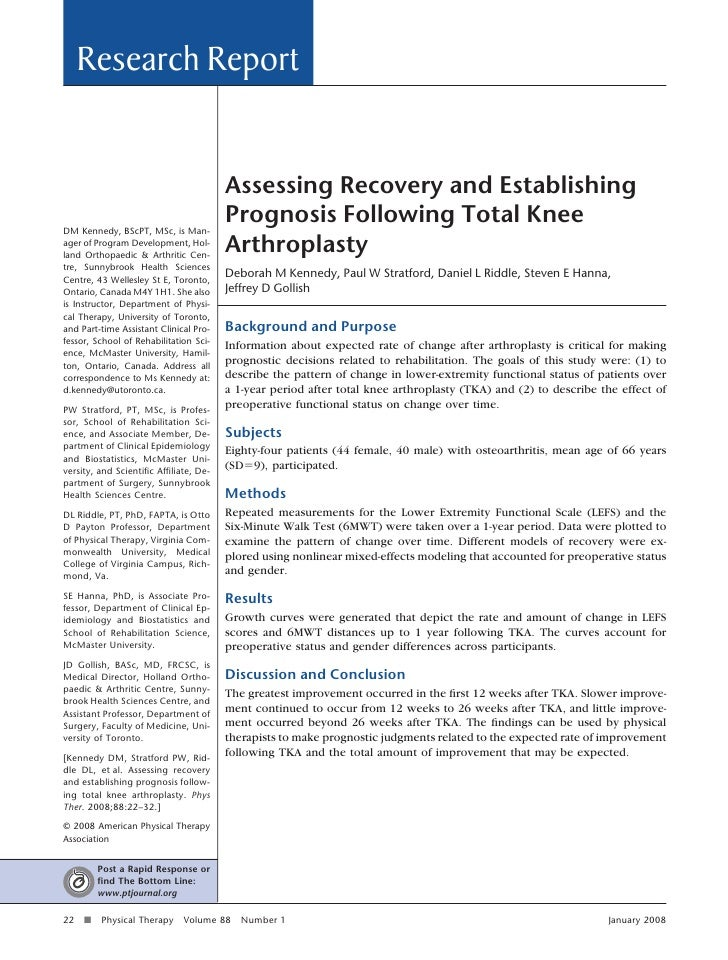 Assessing recovery and establishing prognosis following total knee arthroplasty