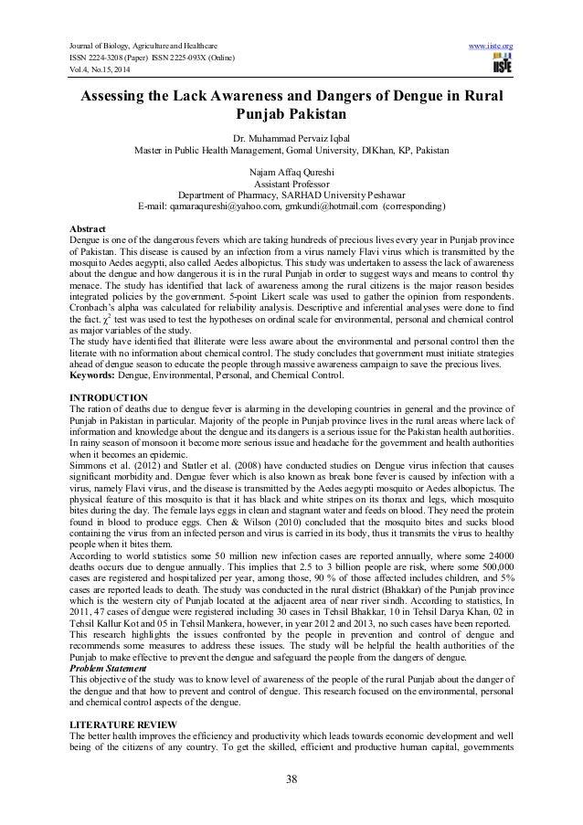 Assessing the lack awareness and dangers of dengue in rural punjab pakistan