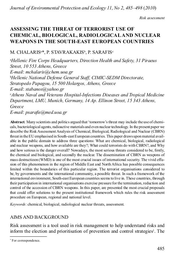 Asessing the threat of terrorist use of chemical, biological, radiological and nuclear weapons in the South-East European Countries