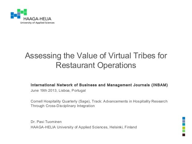 Assessing the Value of Virtual Tribes for Restaurant Operations International Network of Business and Management Journals ...