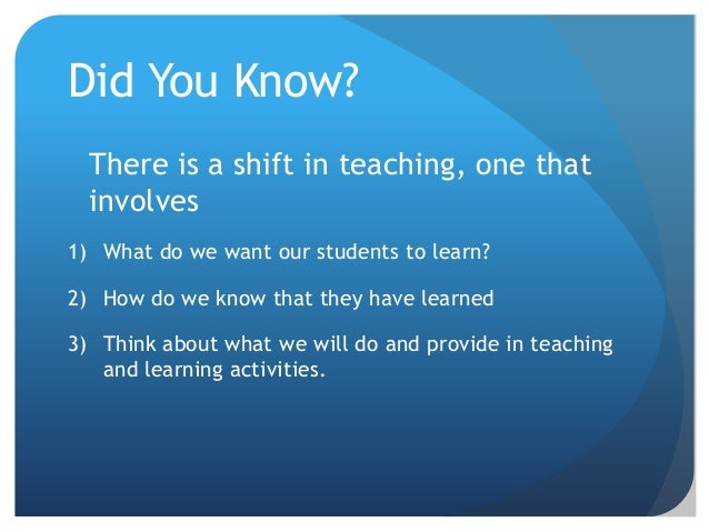 Did You Know?  There is a shift in teaching, one that  involves1) What do we want our students to learn?2) How do we know ...