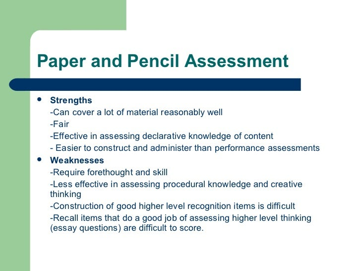 Assessment Paper Paper And Pencil Assessment