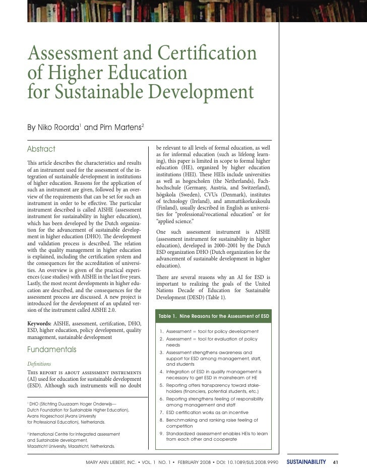 Assessment and Certification of Higher Education for Sustainable Development By Niko Roorda1 and Pim Martens2  Abstract   ...