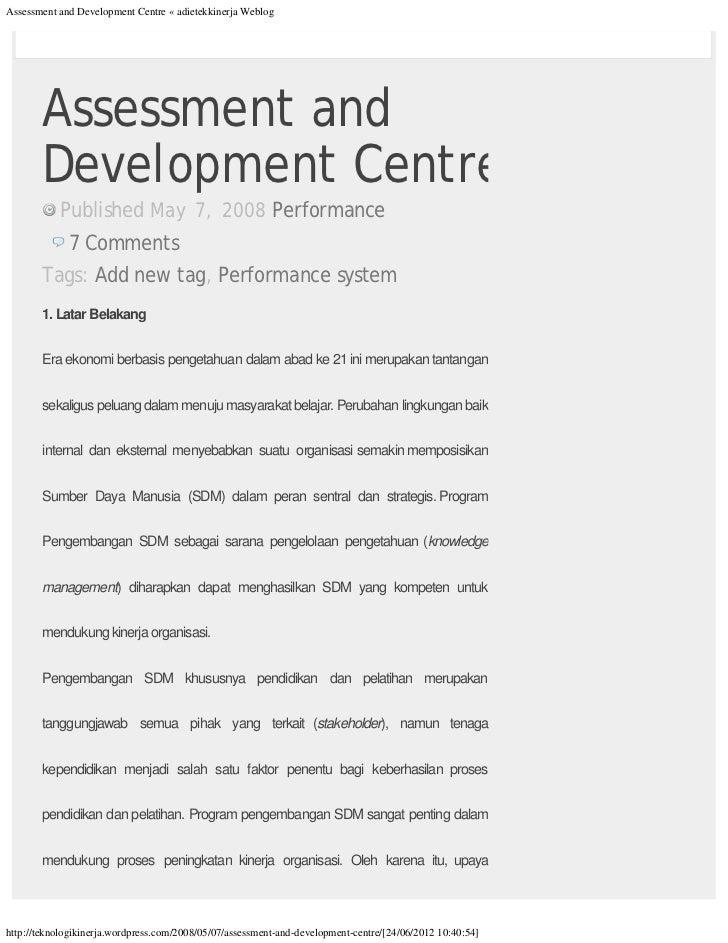 Assessment and Development Centre « adietekkinerja Weblog       Assessment and       DevelopmentCentre           Publishe...